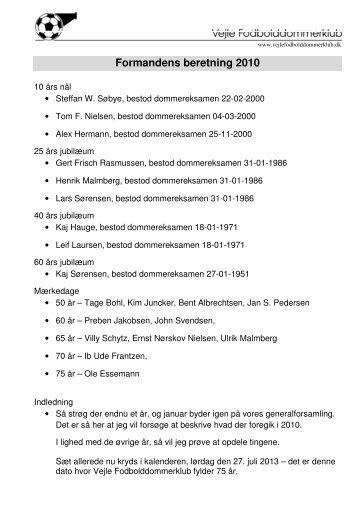 Formandens beretning 2010 - Vejle Fodbolddommerklub