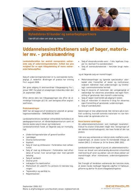 Uddannelsesinstitutioners salg af materialer m.v. - Beierholm