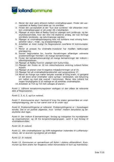 OVERSIGT over indkommende bemærkninger til forslag til ...