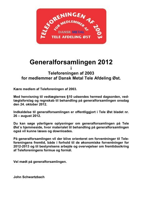 Indkaldelse til Generalforsamling - Dansk Metal Tele Øst