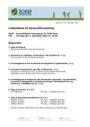 indkaldelse til generalforsamling 2011 - Sorø Golfklub