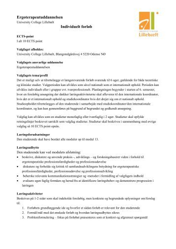 Ergoterapeutuddannelsen Individuelt forløb - University College ...