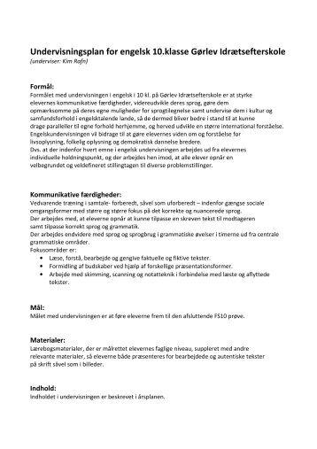 Årsplan engelskhold: Kim Rafn - Gørlev Idrætsefterskole
