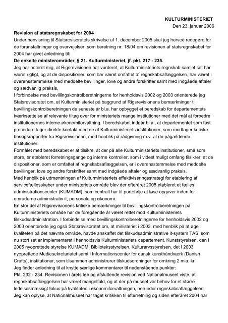 Kulturministerens redegørelse af 23. januar 2006 ... - Rigsrevisionen