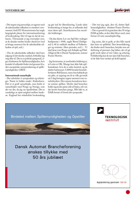 JubILæumsudgaVe - Dansk Automat Brancheforening: DAB