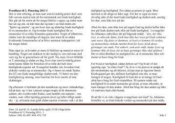 Prædiken til 2. Pinsedag 2011 I Det er min erfaring, at ... - Lumby sogn