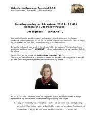 Foredrag og optakt til temadag ved Tine Lindhardt d. 9. oktober 2011