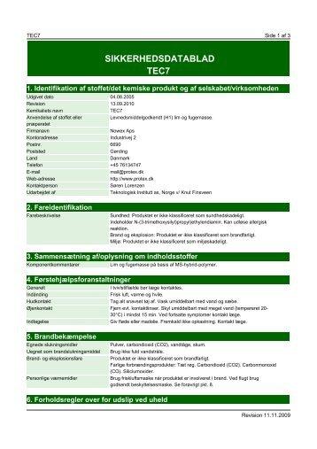 SIKKERHEDSDATABLAD TEC7 - Nowex Aps
