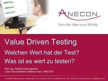 Value Driven Testing - Anecon