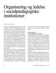 Organisering og ledelse i socialpædagogiske institutioner