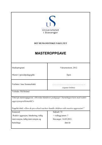Last ned Sommerbakks masteroppgave. - Universitetet i Stavanger