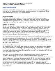 Mastering – en kort forklaring (rev. 12, 13.9.2009) af ... - Popmusic.dk