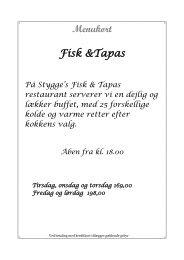 Menukort Fiske & skaldyrs buffet - Stygge Krumpen