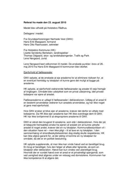 Referat fra møde den 23. august 2010 Mødet blev afholdt på ...