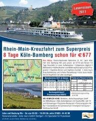 8 Tage Köln-Bamberg schon für €677