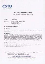 Certification CSTB PASS INNOVATION - Econology