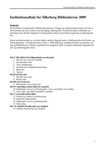 Institutionsaftale for Silkeborg Bibliotekerne 2009