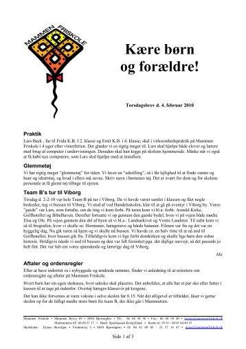 Mammen Friskole Torsdagsbrev 2010-02-04
