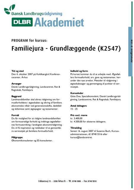 Familiejura - Grundlæggende (K2547) - LandbrugsInfo