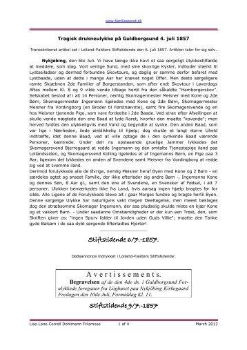 Drukneulykke på Guldborgsund 4. juli 1857 - Familiesporet