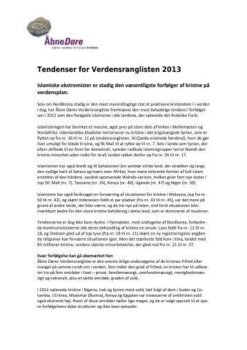Trends for VRL2013 - Åbne Døre