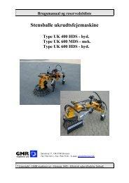 Brugsmanual UK 400/600 - GMR maskiner