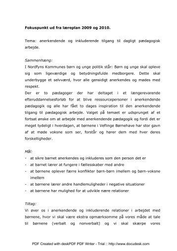 Fokuspunkt ud fra læreplan 2009 - Nordfyns Daginstitutioner