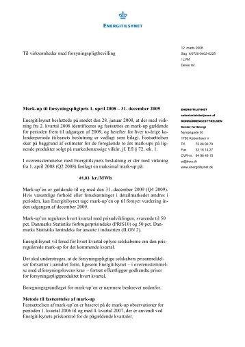 Mark-up til forsyningspligt 1. april 2008 - 31 ... - Energitilsynet