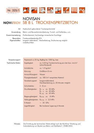 NOVISAN SB 8 L TROCKENSPRITZBETON - Schretter & CIE