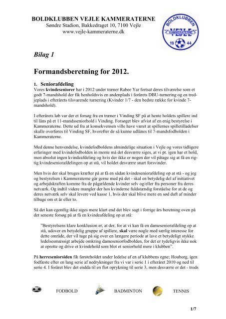 Formandsberetning for 2012. - KlubCMS - DBU