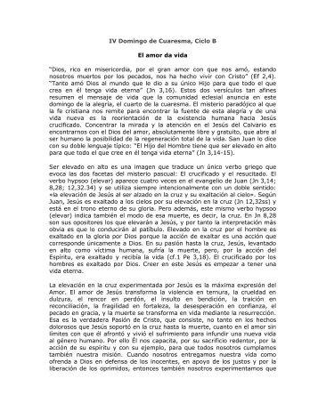 IV Domingo de Cuaresma, Ciclo B El amor da vida ... - Homiletica.org