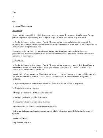 Vida Y Obra de Manuel Mujica Lainez Presentación: Manuel Mujica ...