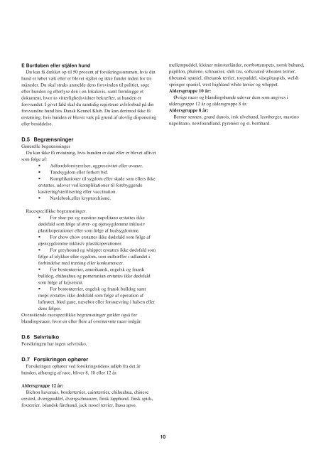 Vilkår Hund 2012 - Agria Dyreforsikring