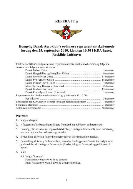 Referat fra KDA's repræsentantskabsmøde september 2010