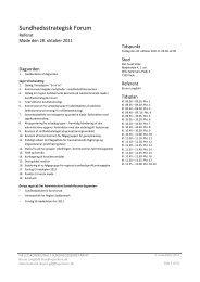 REFERAT Sundhedsstrategisk Forum 28-10-2011