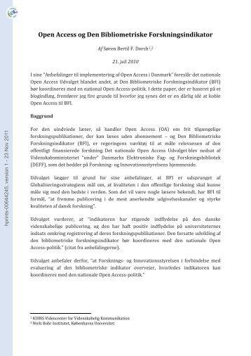 Open Access og Den Bibliometriske Forskningsindikator - Hprints.org