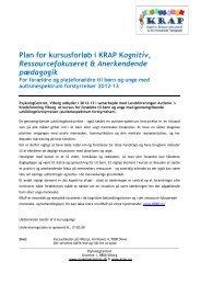 Plan for kursusforløb i KRAP Kognitiv, Ressourcefokuseret ...