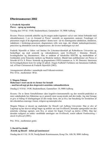 Program for NFF efteråret 2002 - Nordjysk Filosofisk Forening