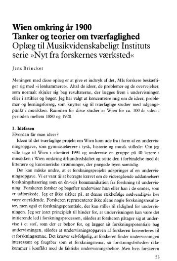 Wien omkring år 1900 Tanker og teorier om tværfaglighed Oplæg til ...