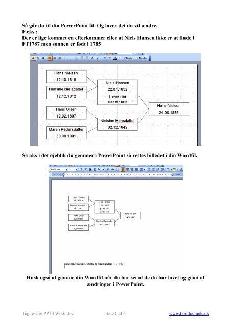 Sådan laves en Ane / efterslægtstavle i PowerPoint ... - Bodil og Niels