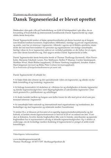 Pressemeddelelse om dansk tegneserieråds oprettelse (PDF)