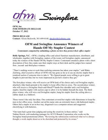 OFM and Swingline Announce Winners of Hands Off My Stapler ...