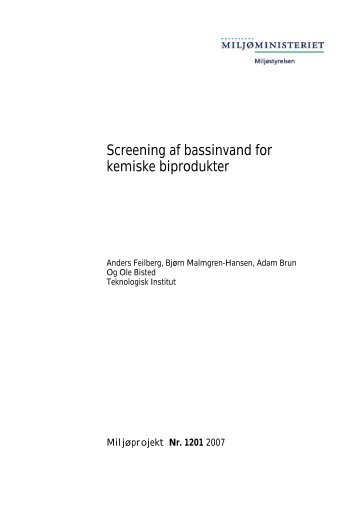 Screening af bassinvand for kemiske biprodukter - Dryden Aqua Ltd