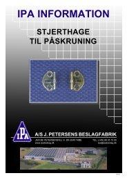 IPA INFORMATION - Velkommen til A/S J. Petersens Beslagfabrik