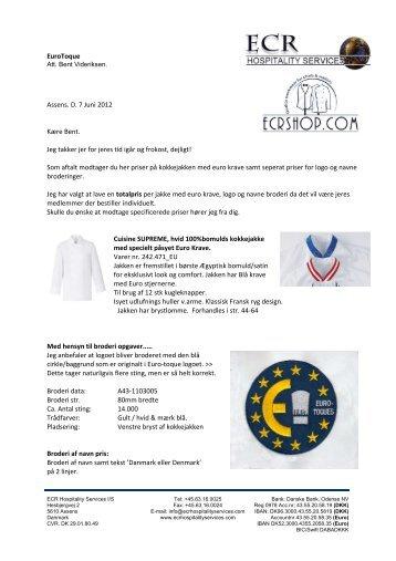 Køb af kokkejakke med logo og navn - Euro-Toques