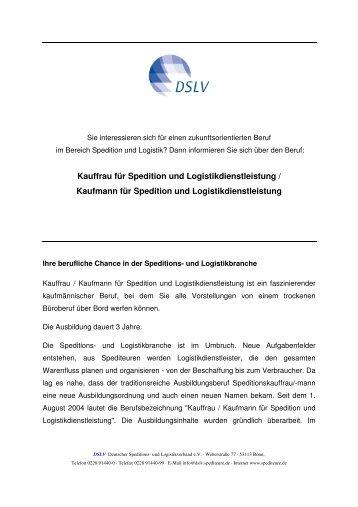 Kauffrau für Spedition und Logistikdienstleistung ... - System Alliance