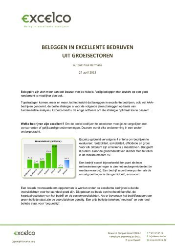 Beleggen in excellente bedrijven uit groeisectoren - Excelco