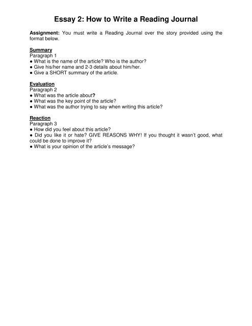 Essay 2: How to Write a Reading Journal - Oak Brook Baptist School