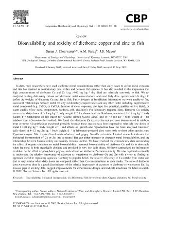 Bioavailability and toxicity of dietborne copper and zinc to fish