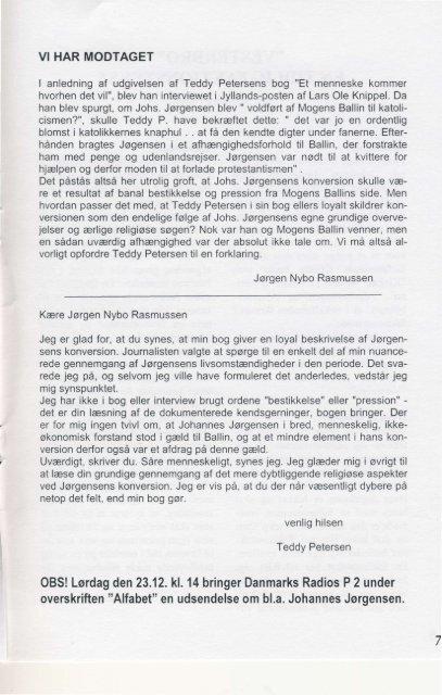 NYHEDSBREV - Johannes Jørgensen Selskabet